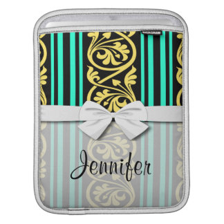 stripes and damask yellow aqua blue sleeve for iPads