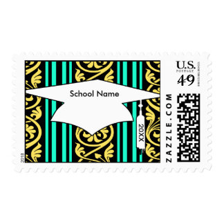 stripes and damask yellow aqua blue stamp