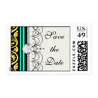 stripes and damask yellow aqua blue stamps