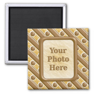 Stripes and Dots - Chocolate Marshmallow 2 Inch Square Magnet