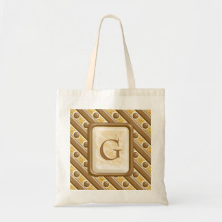 Stripes and Dots - Chocolate Marshmallow Tote Bag