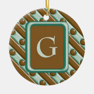 Stripes and Dots - Chocolate Mint Ceramic Ornament