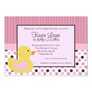 Stripes and Dots Girl Duck Invitation