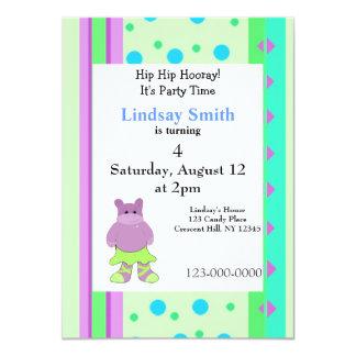 Stripes and Dots Hippo Birthday Invitation
