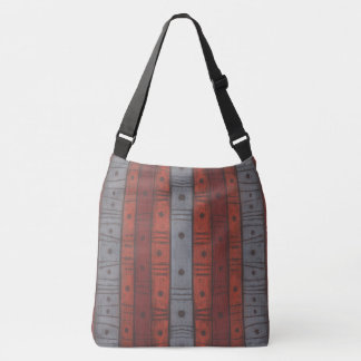 Stripes and dots in earth tones, abstract pattern, crossbody bag