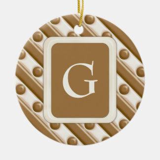 Stripes and Dots - Milk and White Chocolate Ceramic Ornament