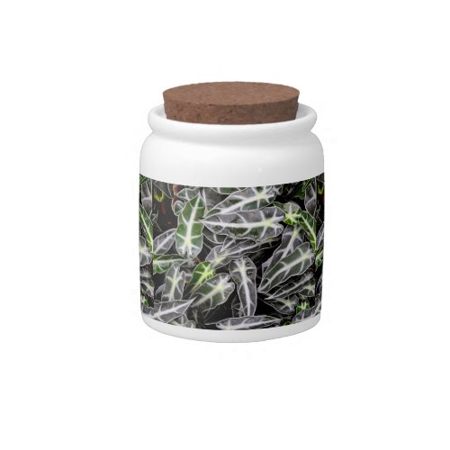 Stripes and Droplets Glossy Ornamental Plant Candy Jar