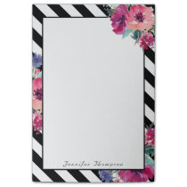 Stripes and Floral Pattern with Your Name Post-it Notes