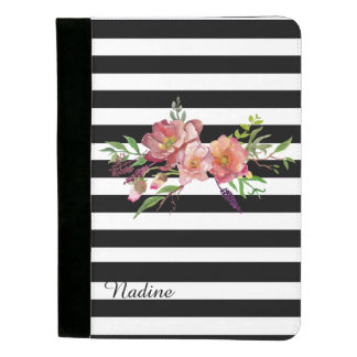 Stripes and Flowers Custom Padfolio