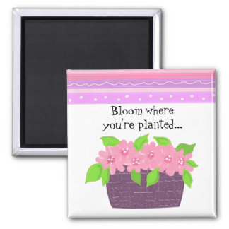 Stripes and Flowers - Inspirational Message Magnet