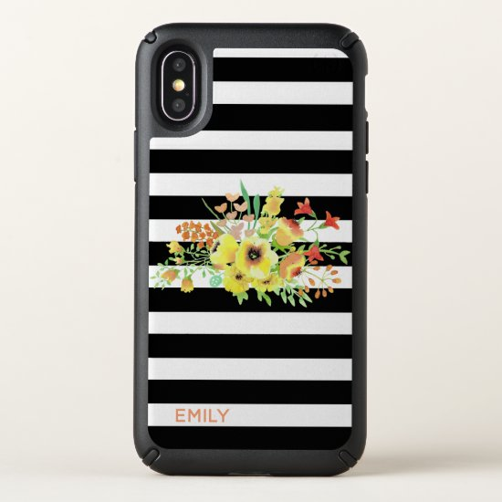 Stripes and Flowers iPhone X Case