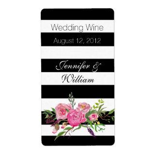 Stripes and Flowers Wedding Mini Wine Label