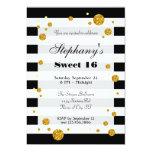 """Stripes and Glitter Sweet Sixteen Invitation 5"""" X 7"""" Invitation Card"""