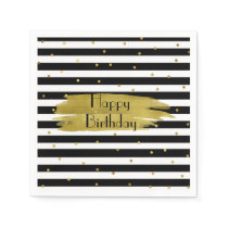 Stripes and Gold Dots Birthday Napkins