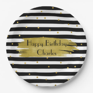 Stripes and Gold Dots Custom Party Paper Plates