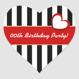 Stripes and Heart Any Year Birthday Party B05Z Stickers