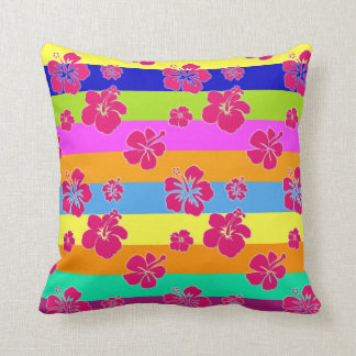 Stripes and Hibiscus Pillow