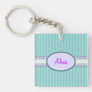 Stripes and Lace Single-Sided Square Acrylic Keychain