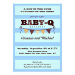 Stripes and Pennant Baby Q Invitation Custom Announcement