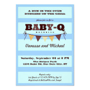 Stripes and Pennant Baby Q Invitation at Zazzle