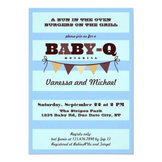 "Stripes and Pennant Baby Q Invitation 5"" X 7"" Invitation Card"