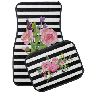 Stripes and Peonies Custom Car Mat Set