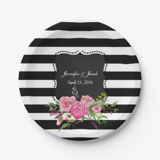 Stripes and Peonies Wedding Paper Plate