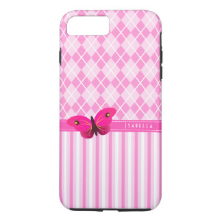 Stripes and Pink Argyle Pattern Butterfly Durable iPhone 7 Plus Case
