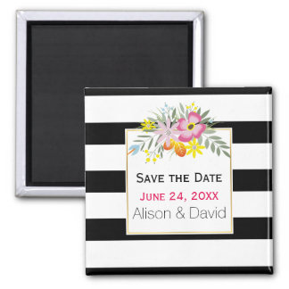 Stripes and pink flowers wedding Save the Date Magnet