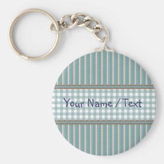 Stripes and plaid design keychain