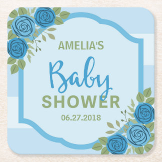 Stripes and Roses Blue Boy Baby Shower Square Paper Coaster