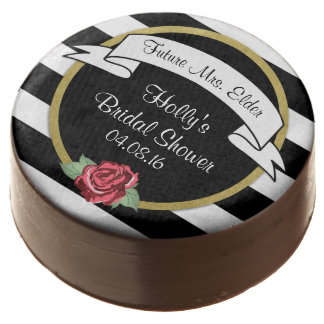 Stripes and Roses Gold Bridal Shower Chocolate Covered Oreo