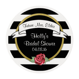 Stripes and Roses Gold Bridal Shower Edible Frosting Rounds