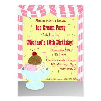 Stripes and Sprinkles Ice Cream Party Invitation