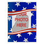 Stripes and stars photo frame template greeting card