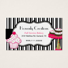 Stripes And Sweets Bakery Business Card at Zazzle