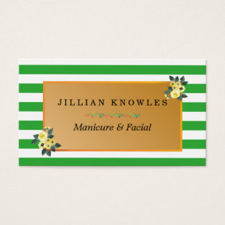Stripes Any Color Floral Manicure Artist Business Card