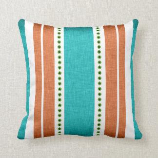 Stripes aqua orange funky cool throw pillow