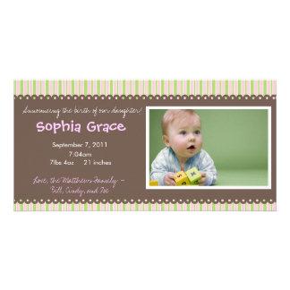 Stripes Baby Girl Birth Announcement