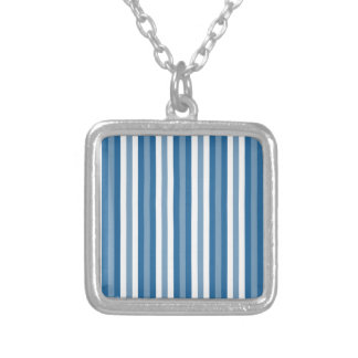 Stripes Background Blue and White Silver Plated Necklace