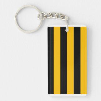 Stripes - Black and Amber Rectangular Acrylic Key Chains