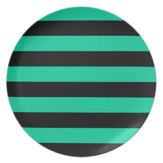 Stripes - Black and Caribbean Green Plate