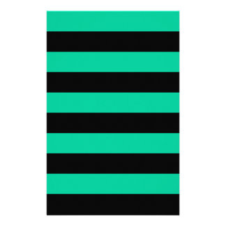 Stripes - Black and Caribbean Green Personalized Stationery