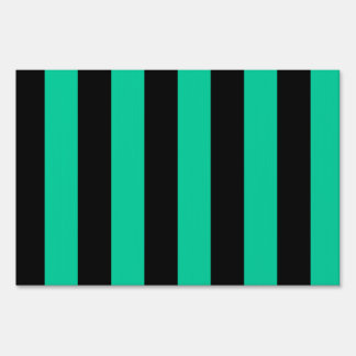Stripes - Black and Caribbean Green Yard Sign