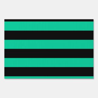 Stripes - Black and Caribbean Green Signs