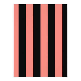 "Stripes - Black and Coral Pink 5.5"" X 7.5"" Invitation Card"