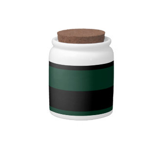 Stripes - Black and Dark Green Candy Jar