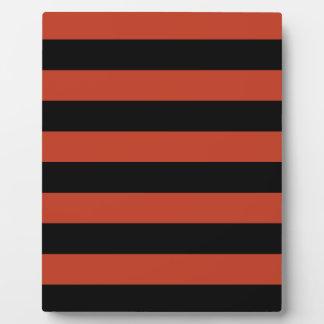 Stripes - Black and Dark Pastel Red Plaque