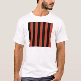 Stripes - Black and Dark Pastel Red T-Shirt