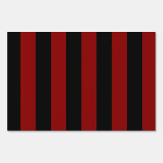 Stripes - Black and Dark Red Yard Sign